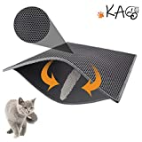 "KAG Cat Litter Mat Litter Trapper Large Size 30"" X 24"", Honeycomb Double-Layer Design Waterproof Urine Proof Material, Easy Clean Scatter Control (Grey)"