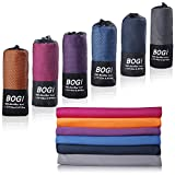 BOGI Microfiber Travel Sports Towel-(S:16''x32'',2Pcs)-Dry Fast Soft Lightweight Absorbent&Ultra Compact-for Camping Gym Beach Bath Yoga Backpacking Fitness+Gift Bag&Carabiner(S:Grey)