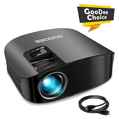 """Projector, GooDee Video Projector Outdoor Movie Projector, 200"""" Home Theater Projector Support 1080P, Compatible with Fire TV Stick, PS4, HDMI, VGA, AV and USB"""