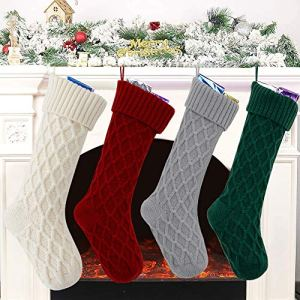 LOMOHOO-Pack-4-Christmas-Stockings-18-Large-Christmas-Knitted-Stockings-Xmas-Rustic-Christmas-Decorations-for-Fireplace-Xmas-Party-Holiday-BurgundyGrayGreenIvory-4-Pack
