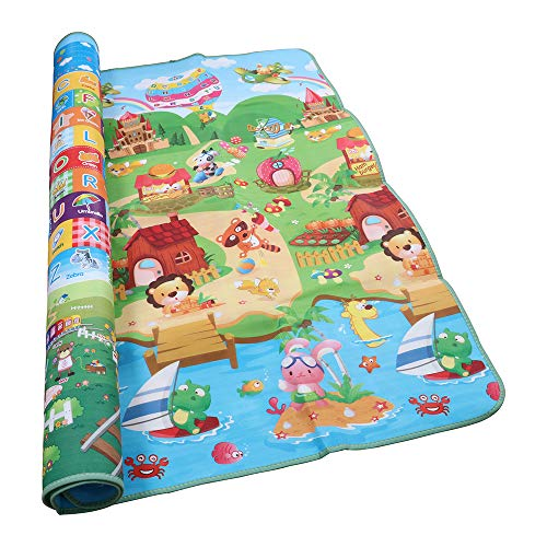 Baby Playmat Large Thick Foam Crawling Floor mats Reversible Waterproof Portable Playmat Double-Sided Non Toxic Play Mats for Baby 79''X71''