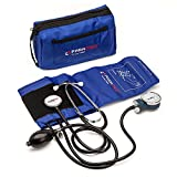 Manual Blood Pressure Cuff by Paramed - Professional Aneroid Sphygmomanometer with Carrying Case - Adult Sized Cuff - BP Monitor Set with Stethoscope (Dark Blue)