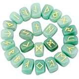 rockcloud Green Aventurine Rune Stones Tumbled Engraved Lettering Crystal Set for Wicca Crystals Healing Chakra Reiki