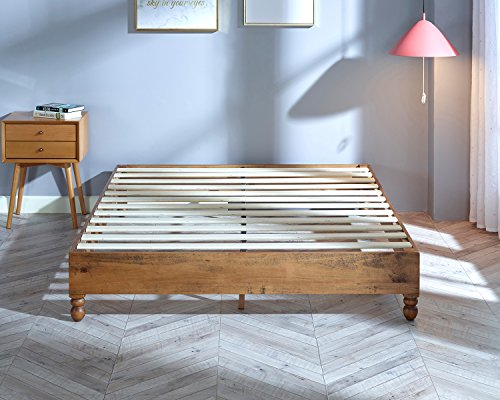 musehome 12 inch wood bed frame rustic style eliminates the need for a boxspring natural pine finish king