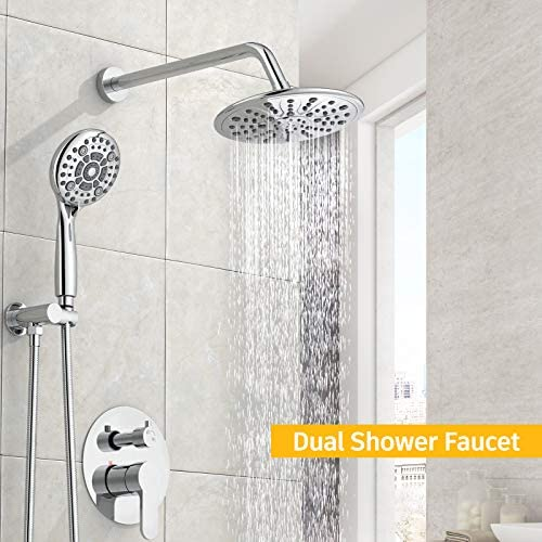 SunCleanse Shower System-Rainfall Shower Faucet Set with 6-Settings Handheld Shower and High Pressure Shower Head, Contain Rough in Valve and Trim Kit, Polished Chrome 13