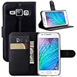 Galaxy J7 Case, Fettion Premium PU Leather Wallet Flip Phone Protective Case Cover with Card Slots and Magnetic Closure for Samsung Galaxy J7 J700 2015 Smartphone (Black)