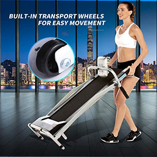 ANCHEER Folding Treadmill, Treadmills for Home with LCD Monitor Motorized,Pulse Grip and Safety Key,Top Indoor Exercise Machine Trainer Walking Running for Home & Office Workout 6