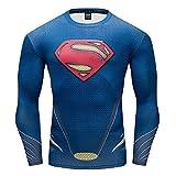 GYM GALA Men's Superman Compression Shirt (Large, C023)