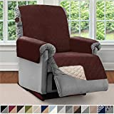 Sofa Shield Original Patent Pending Reversible Recliner Slipcover, Dogs, 2' Strap/Hook Seat Width Up to 28' Washable Furniture Protector, Slip Cover Throw for Pets, Kids (Recliner: Chocolate/Beige)