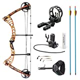 Leader Accessories Compound Bow 30-55lbs Archery Hunting Equipment with Max Speed 296fps (Autumn Camo. with Kit)