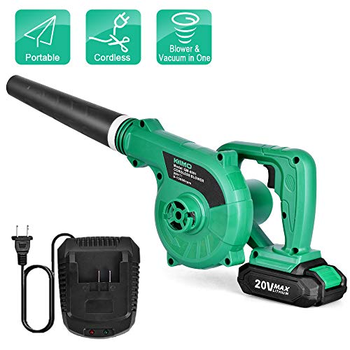 Cordless Leaf Blower - KIMO 20V Lithium 2-in-1 Sweeper/Vacuum 2.0 AH Battery for Blowing...