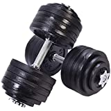 GYMAX Dumbbell Set, 200 Lbs Adjustable Weight Dumbbell Barbell Plates Adjustable Cap for Gym Home Strength Training