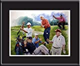 Golf, presidents, Tiger Woods play golf. Oil painting poster 16x20' with mat.