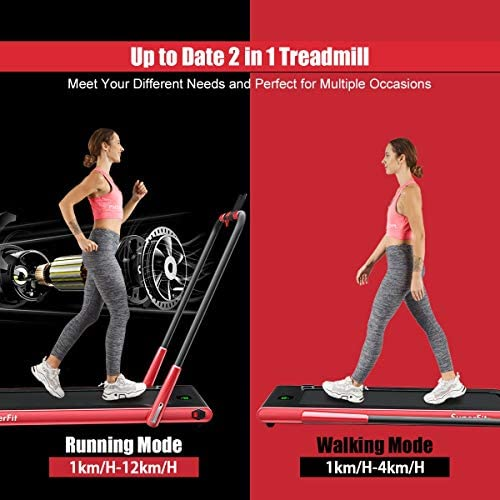 Goplus 2 in 1 Folding Treadmill, 2.25HP Under Desk Electric Treadmill, Installation-Free, with Remote Control, Bluetooth Speaker and LED Display, Walking Jogging Machine for Home Use 4