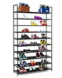 Halter 10 Tier Stackable Shoe Rack Storage Shelves - Stainless Steel Frame Holds 50 Pairs of Shoes - 39.125' X 11.125' X 69.5' - Black