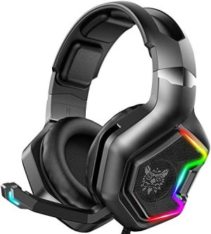 ONIKUMA Gaming Headset for PS4 ,Xbox One, 7.1 Surround Sound Noise Canceling Headset with Microphone &RGB LED Light, Compatible with PC,Game Boy Advance,Nintendo Switch (Adapter Not Included)