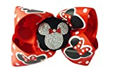 Red & Silver Glitter Minnie Mouse Hair Bow, Ribbon Clip for Disney Vacation or Cruise, Girls