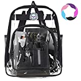 Bagail Clear Backpack Heavy Duty See Through Transparent Daypack Student School Bookbag(Black)