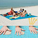 Sand Proof Blanket Sand Free Lightweight Compact Large Beach Towel Mat Fast Dry Waterproof Easy Clean Ultra Portable Blanket (Blue, 79'×79')