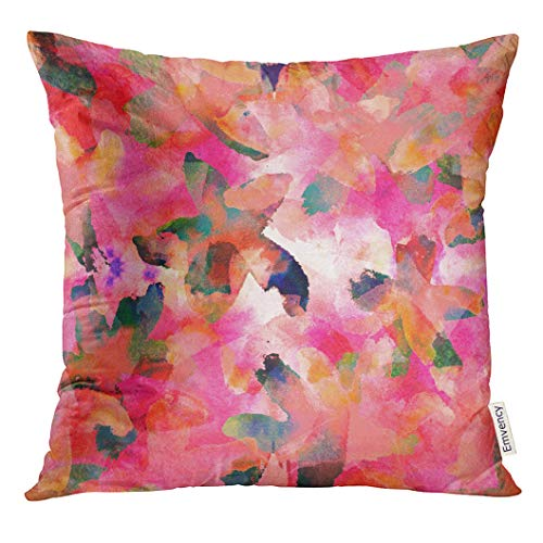 VANMI Throw Pillow Cover Crazy Abstract Made of Watercolor Hand Flowers Digitally Finished in Photoshop Floral Fantastic Decorative Pillow Case Home Decor Square 16x16 Inches Pillowcase