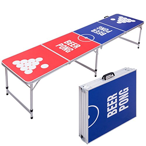 Globe House Products GHP Stable & Durable Lightweight Aluminum Waterproof 8' Foldable Beer Pong Table