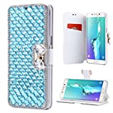 Galaxy S9 Wallet Case,Lozeguyc Hand Made Luxury 3D Bling Crystal Rhinestone Leather Purse Flip Card Pouch Stand Cover Case for Samsung Galaxy S9-Light Blue