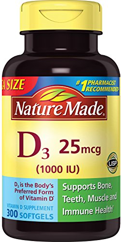 Nature Made Vitamin D3 25 mcg (1000 IU) Softgels 300 Ct Mega Size (Packaging may vary)