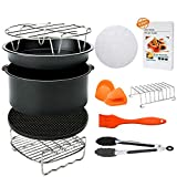 8 Inch Air Fryer Accessories,Blusmart 11 pcs Deep Fryer Accessories Set for Gowise, Phillips Air Fryer, Fit 4.2 Qt to 5.8 Qt Air Fryer, FDA Approved, BPA Free,Cookbook Included
