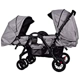 Costzon Double Stroller, Stroller with Sleep, Sit, Recline Seat, 5-Point Safety System and Food Tray