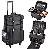 AW 2in1 Black Oxford Soft Sided Rolling Makeup Case Cosmetic Stroage Trolley 15x11x25' Train Bag Makeup Luggage