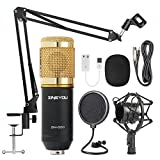 ZINGYOU Condenser Microphone Bundle, BM-800 Mic Kit with Adjustable Mic Suspension Scissor Arm, Metal Shock Mount and Double-layer Pop Filter for Studio Recording & Broadcasting (Gold)