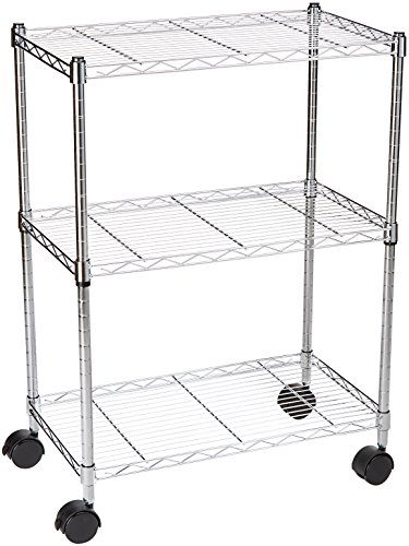 AmazonBasics 3-Shelf Shelving Unit on Wheels - Chrome