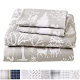 Great Bay Home Extra Soft Enchanted Woods 100% Turkish Cotton Flannel Sheet Set. Warm, Cozy, Lightweight, Luxury Winter Bed Sheets. Belle Collection (Queen, Enchanted Woods)