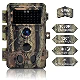 DIGITNOW Trail Camera 16MP 1080P, Game Camera with No Glow LED Infrared Night Vision Up to 65Ft, Waterproof Wildlife Hunting Cameras with 120° Wide Angle / 0.2s Trigger Time