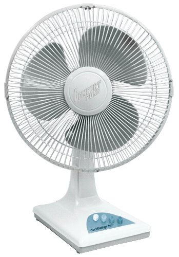 16' Oscillating Pedestal Air Conditioner House Fan by Comfort Zone. 3-speed Options, 90-Degree Oscillating Head, Adjustable Height from 41'- 47 3/8'. (White)