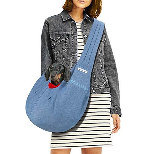 LincaPenneton Dog Carrier Pet Sling Bag Small Cat Dog Puppy Outdoor Travel Hands Free Shoulder Bag Tote up to 12 lbs Denim Blue 1