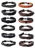 Jstyle 12Pcs Braided Bracelet for Men Beaded Bracelets Wrap Leather Wooden Bracelets Adjustable