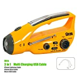 Safe-One Solar , Hand-Crank , Power Bank LED Flashlight with Radio iPhone , Smart phone Charger