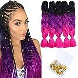 Braiding Hair Synthetic Soft Fiber Twist Three Tone Braids 24 inch Long Jumbo Ombre Hair Extensions (5Pcs/Lot 100g/Pc Black/Purple/Rose Red)