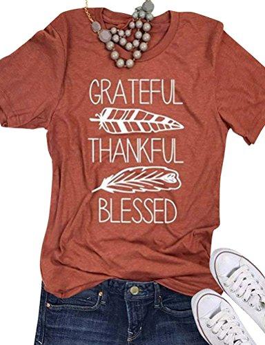 Nlife Women Grateful Thankful Blessed T-Shirt Leaf Short Sleeve Shirt Top for Thanksgiving