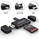 SD Card Reader, Micro SD/TF Compact Flash Card Reader with 3 in 1 USB Type C/Micro USB Male Adapter and OTG Function Portable Memory Card Reader for & PC & Laptop & Smart Phones & Tablets (Black)
