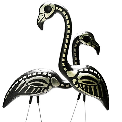 Pink Inc. 2 Halloween Skeleton Yard Flamingos Lawn Decor Ornaments - Great for Halloween Haunted House or Over the Hill Party Decorations