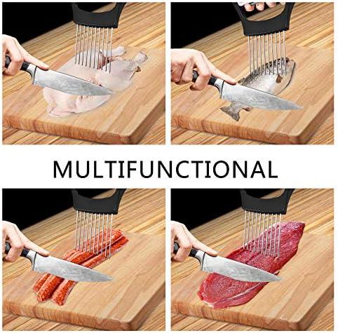 ERTG 11cm Food Slice Assistant, Onion Holder Slicer, Onion Mincer Chopper, Slicer, Vegetable Chopper, Cutter, Dicer, kitchen Gadgets kitchen Utensil Holder, Cutting Kitchen Gadget Onion Peeler (B)