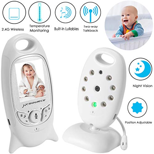 Video Baby Monitor Wireless Camera+2 Way Talk Back Audio+Night Vision+Temperature Sensor+8 Lullaby+2' LCD Screen+Baby Pet Surveillance Video Monitor Nanny Cam for Home Security System, No WiFi Needed