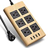 9.8ft Wood Power Strip with USB- SUPERDANNY Multi-Protection Extension Cord Right Angle Flat Plug 6 Outlets with 4 USB Fast Charging Ports for for iPhone iPad Home Indoor Office Desktop