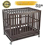 Gelinzon Heavy Duty Metal Dog Cage Kennel Crate and Playpen for Training Large Dog Indoor Outdoor with Door & Locks Design Included Lockable Wheels Removable Tray, 38''