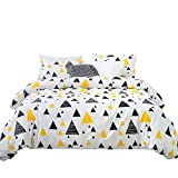 YuHeGuoJi 3 Pieces Duvet Cover Set 100% Cotton White King Size Yellow and Black Triangle Bedding Set 1 Geometric Duvet Cover with Zipper Ties 2 Pillowcases Hotel Quality Soft Breathable Lightweight