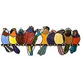 River of Goods Bird Suncatcher: Stained Glass Birds on a Wire Hanging Sun Catcher Window Panels