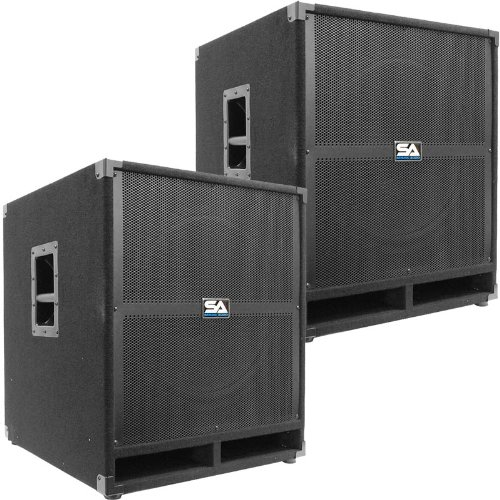 Seismic Audio - Tremor-18Pair - Pair of Powered PA 18' Subwoofer Speaker Cabinets