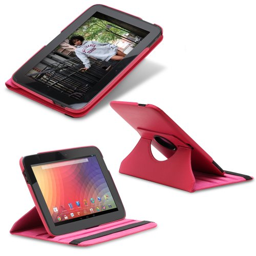 Fosmon GYRE Series 360 Degree Rotating Leather Case with Multi Angle Stand + Sleep/Wake Function for Google Nexus 10 Tablet (Pink)